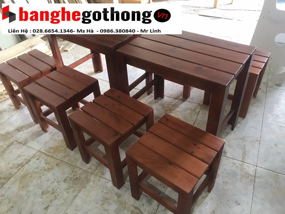 Mẫu bàn ghế cà phê gỗ thông mới nhất