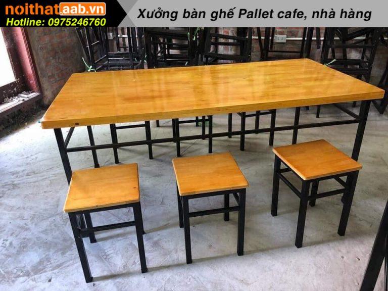 Bộ bàn ghế mặt gỗ chân sắt